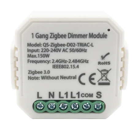 Dimmer Switch Module No Neutral 1 Gang